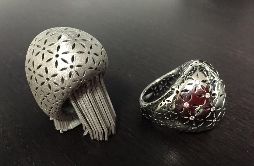 Anello stampato in 3d metallo gioielleria